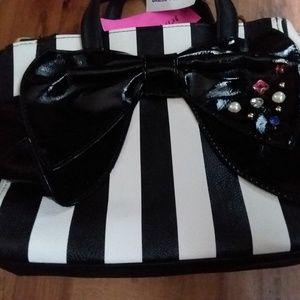 Betsey Johnson Black and white stripe satchel